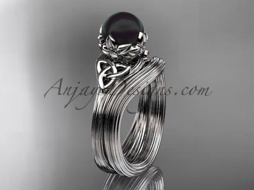 Black Pearl Celtic Platinum Bridal Ring Set CTBP7240S