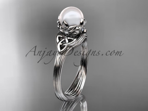 Triquetra Celtic White Gold Pearl Engagement Ring CTP7240