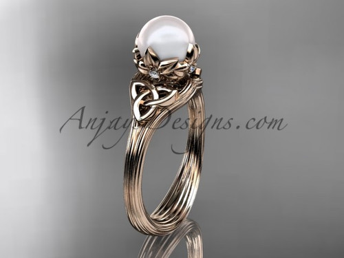 Triquetra Celtic Rose Gold Pearl Engagement Ring CTP7240