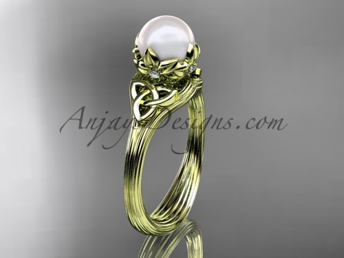 Triquetra Celtic Yellow Gold Pearl Engagement Ring CTP7240