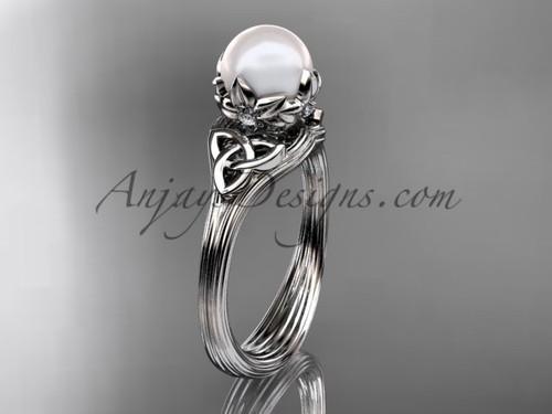 Triquetra Celtic Platinum Pearl Engagement Ring CTP7240