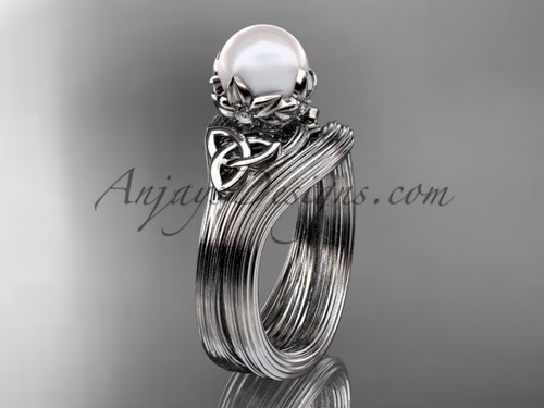 Triquetra Celtic White Gold Pearl Wedding Ring Set CTP7240S