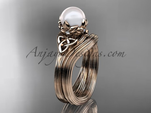 Triquetra Celtic Rose Gold Pearl Wedding Ring Set CTP7240S