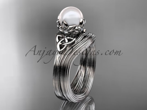 Triquetra Celtic Platinum Pearl Wedding Ring Set CTP7240S