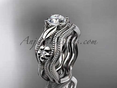 Wedding Set White Gold Flower Moissanite Ring ADLR382S