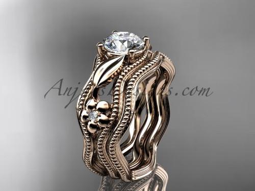 Wedding Set Rose Gold Flower Moissanite Ring ADLR382S