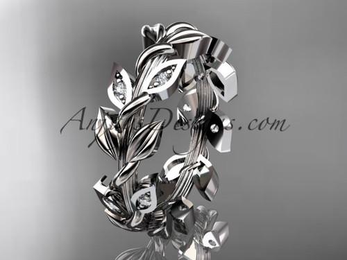 14kt white gold diamond leaf wedding ring, wedding band ADLR120B