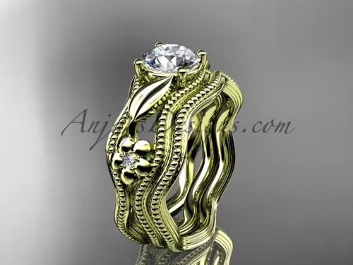 Wedding Set Yellow Gold Flower Moissanite Ring ADLR382S