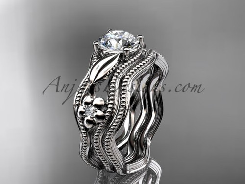 Wedding Set Platinum Flower Moissanite Ring ADLR382S