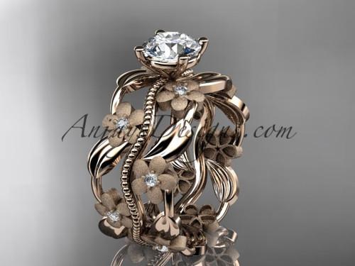 14kt rose gold diamond leaf and vine wedding ring, engagement ring ADLR188