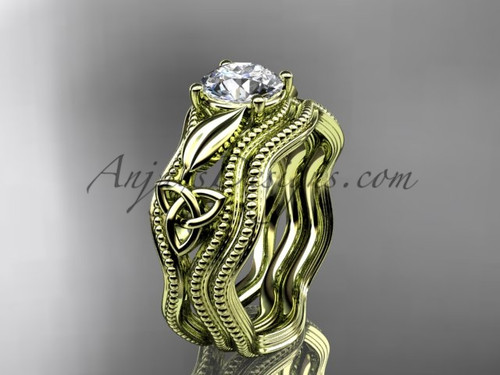 Alternative Wedding Set Yellow Gold Celtic Ring CT7382S