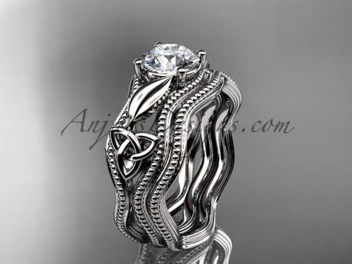 Moissanite Bridal Set White Gold Celtic Ring CT7382S
