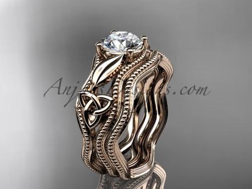 Moissanite Bridal Set Rose Gold Celtic Ring CT7382S