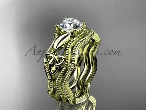 Moissanite Bridal Set Yellow Gold Celtic Ring CT7382S