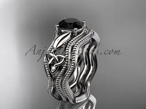 Black Diamond Bridal Set White Gold Celtic Ring CT7382S
