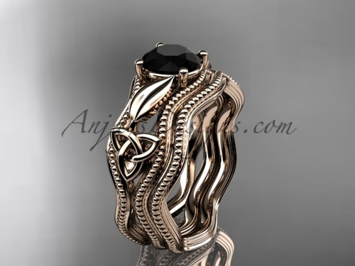 Black Diamond Bridal Set Rose Gold Celtic Ring CT7382S