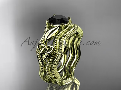 Black Diamond Bridal Set Yellow Gold Celtic Ring CT7382S
