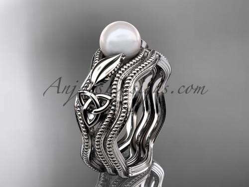 Modern Pearl Wedding Set White Gold Celtic Ring CTP7382S