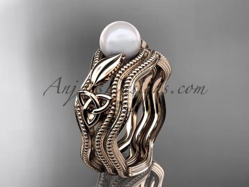 Modern Pearl Wedding Set Rose  Gold Celtic Ring CTP7382S