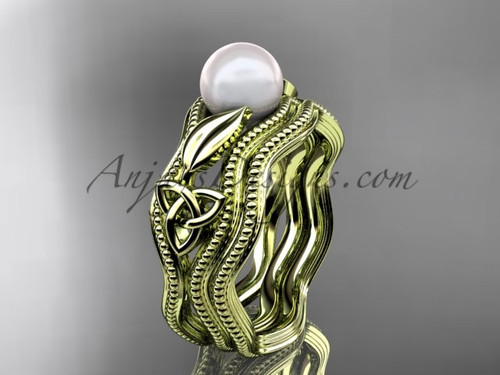 Modern Pearl Wedding Set Yellow Gold Celtic Ring CTP7382S