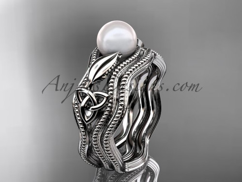 Modern Pearl Wedding Set Platinum Celtic Ring CTP7382S