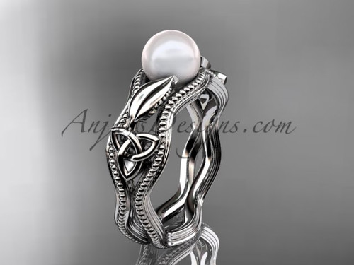 Modern Pearl Engagement Ring White Gold Celtic Ring CTP7382