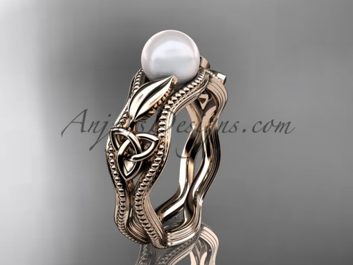 Modern Pearl Engagement Ring Rose Gold Celtic Ring CTP7382