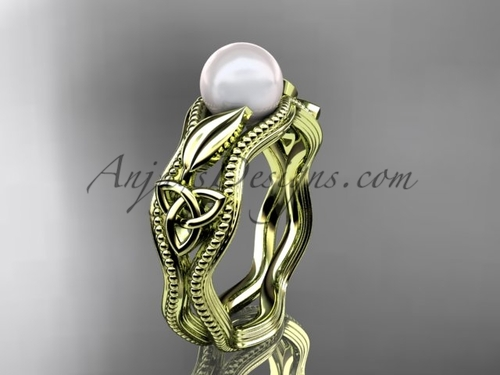 Modern Pearl Engagement Ring Yellow Gold Celtic Ring CTP7382