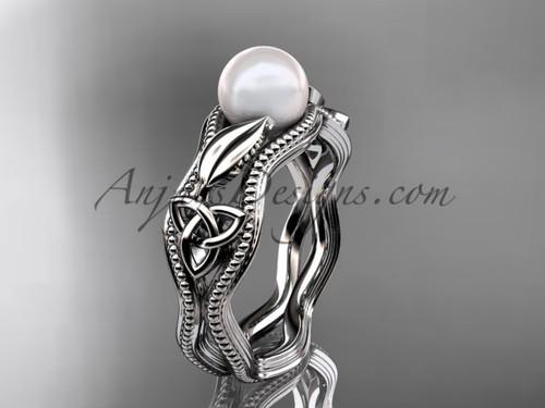 Modern Pearl Engagement Ring Platinum Celtic Ring CTP7382