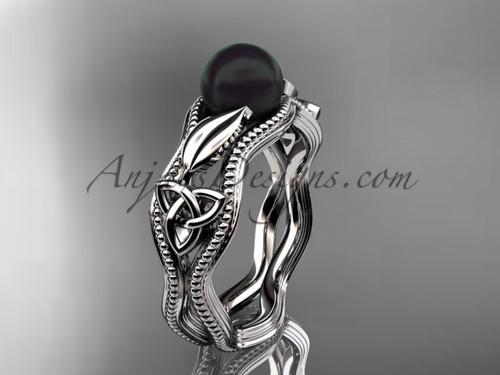 Black Pearl Modern Ring White Gold Celtic Ring CTBP7382