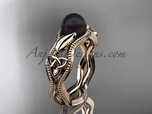 Black Pearl Modern Ring Rose Gold Celtic Ring CTBP7382