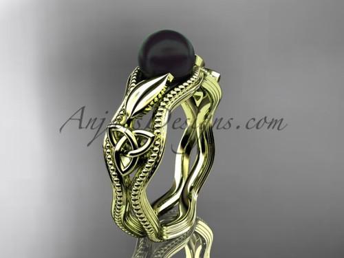 Black Pearl Modern Ring Yellow Gold Celtic Ring CTBP7382