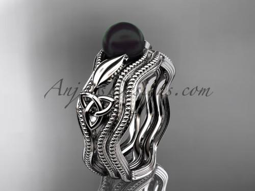 Black Pearl Modern Ring White Gold Bridal Set CTBP7382S