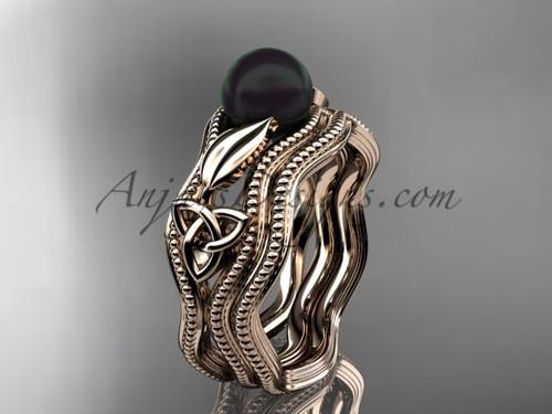 Black Pearl Modern Ring Rose Gold Bridal Set CTBP7382S