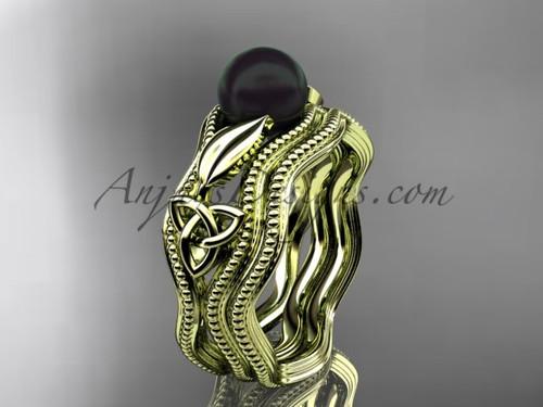 Black Pearl Modern Ring Yellow Gold Bridal Set CTBP7382S