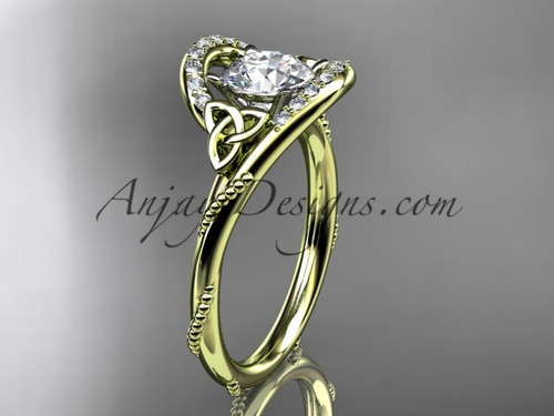 """14kt yellow gold diamond celtic trinity knot wedding ring, engagement ring with a """"Forever One"""" Moissanite center stone CT7166"""