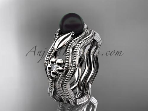 Flower Engagement Rings Platinum Black Pearl Set ABP382S