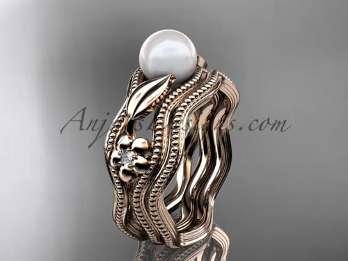 Flower Rings Rose Gold  Diamond and Peal Bridal Set AP382S
