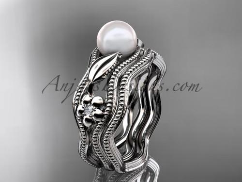 Flower Rings Platinum Diamond and Pearl Bridal Set AP382S