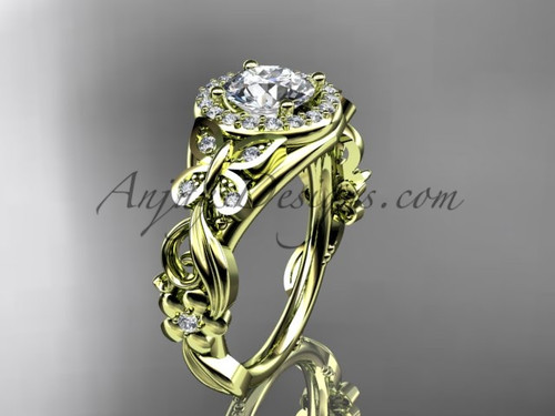 Butterfly Engagement Rings Yellow Gold Unique Ring ADLR525