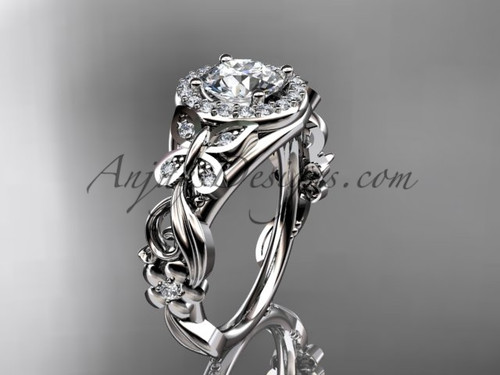 Butterfly Engagement Ring 14kt White Gold Moissanite Floral Wedding Ring ADLR525