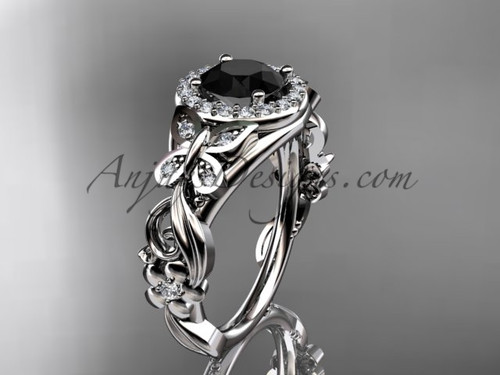 Butterfly Engagement Rings White Gold Black Diamond Ring ADLR525