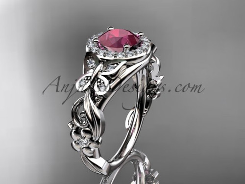 Ruby Engagement Rings White Gold Butterfly Wedding Ring ADRB525