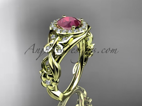 July's Birthstone Rings  - Yellow Gold Ruby Engagement Rings ADRB525