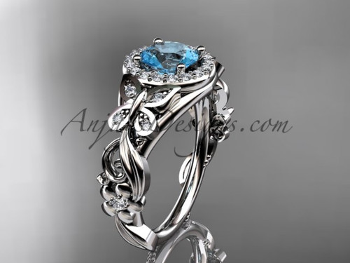 Aquamarine Engagement Rings White Gold Butterfly Wedding Ring ADAM525