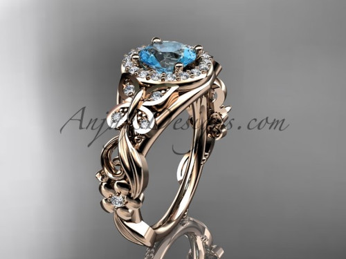 March's Birthstone Rose Gold Aquamarine Rings ADAM525