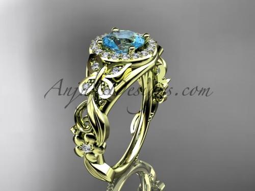 March's Birthstone Yellow Gold Aquamarine Rings ADAM525