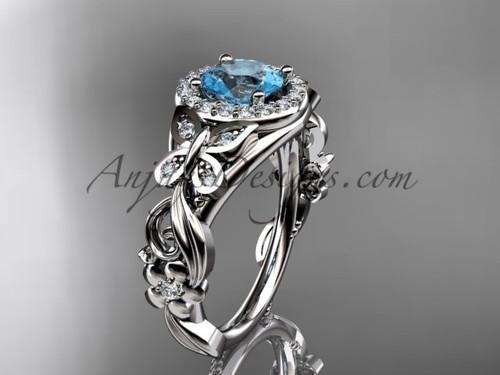 Aquamarine Engagement Rings Platinum Butterfly Wedding Ring ADAM525