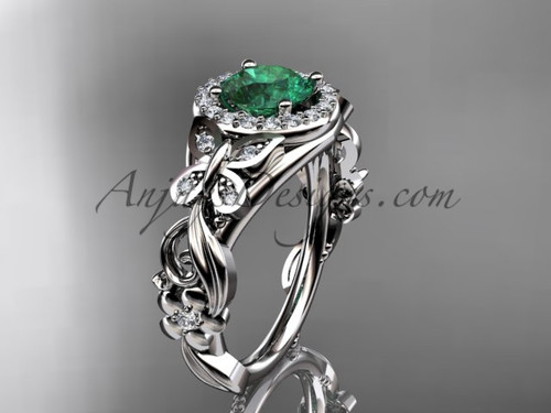 Emerald Engagement Rings White Gold Butterfly Wedding Ring ADEM525