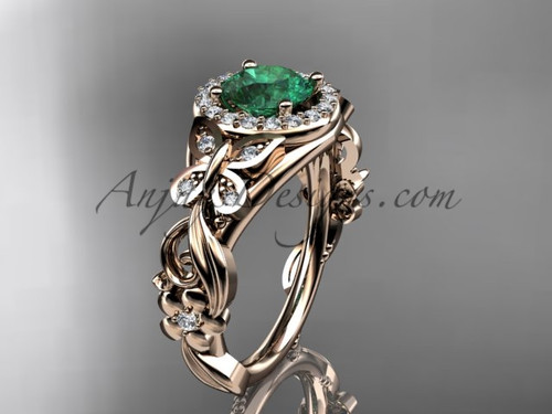 May's Birthstone Rose Gold Emerald Rings ADEM525